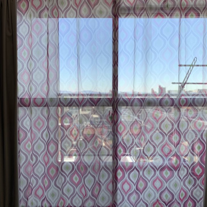 室内から観たオリジナルプリントカーテン