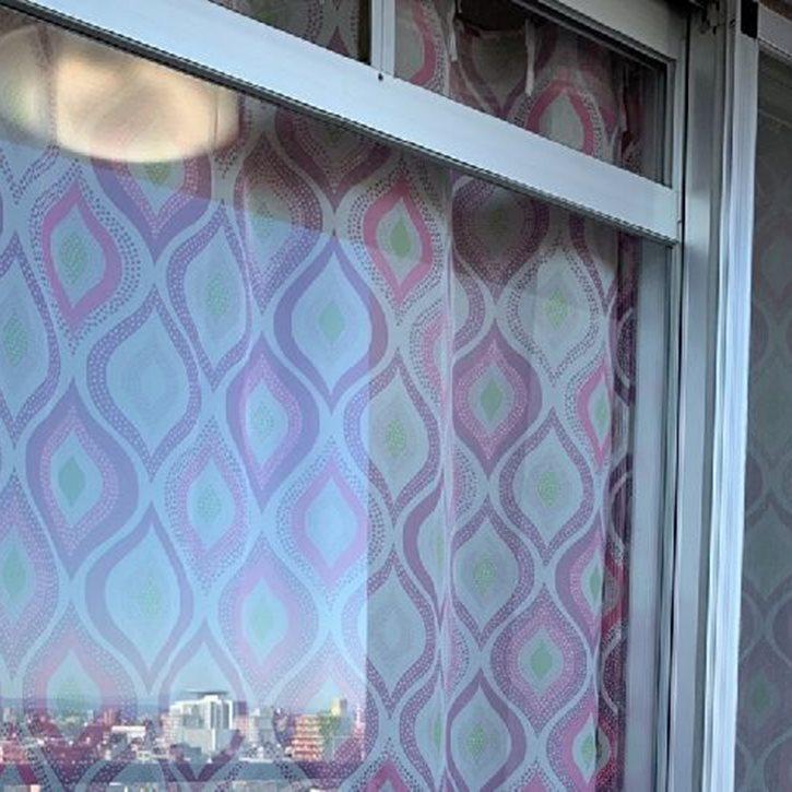 ベランダから観たオリジナルプリントカーテン